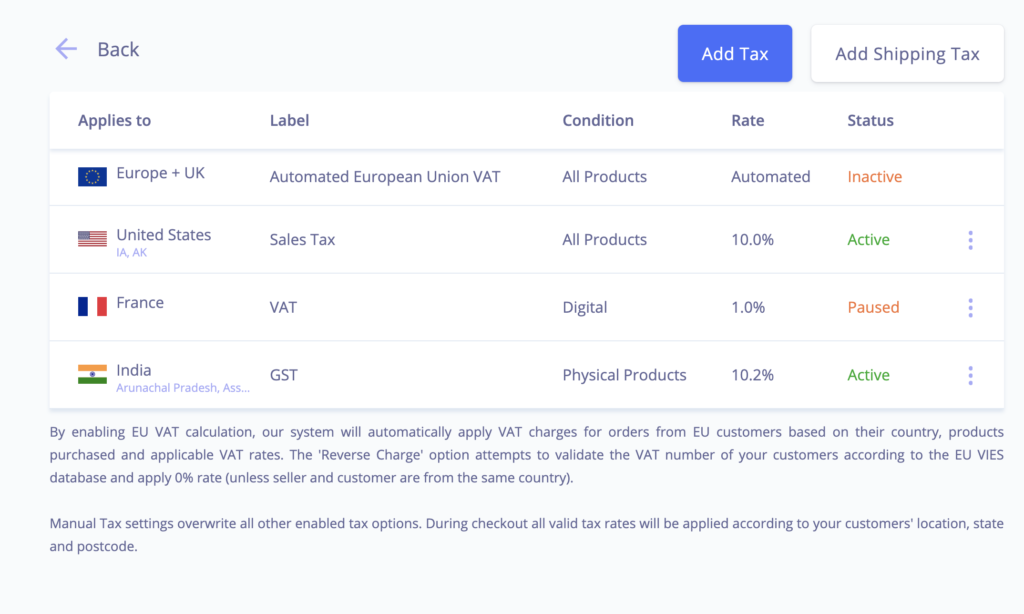 eCommerce product taxes